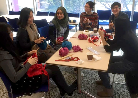 Meeting up every week to knit together. Photo courtesy of ANU.