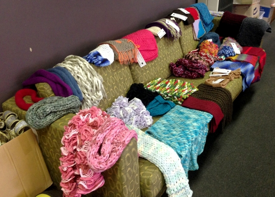 More than 110 scarves have been completed so far for Monday's event